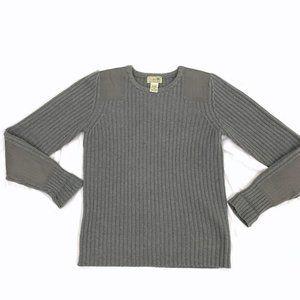 LL BEAN Padded Sleeve Crew Neck Lambs Wool Sweater